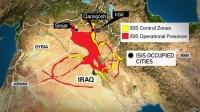 图中红色区域为ISIS军事行动存在区域,黄色为其控制区域,黑色点为其占领的城市,Irbil为空袭点。