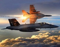 """美军F/A—18""""超级大黄蜂""""战斗机携带激光制导炸弹对盘踞在伊拉克北部地区的""""伊拉克和黎凡特伊斯兰国""""武装进行精确制导轰炸。"""